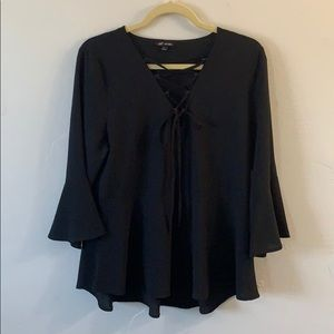 Tops - Black Tunic w/ Bell Sleeves and Cross Front